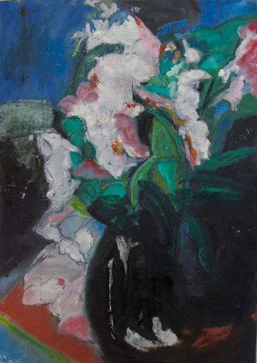 """LILY IN THE PINK  OIL ON BOARD  22"""" X 16""""   SOLD"""
