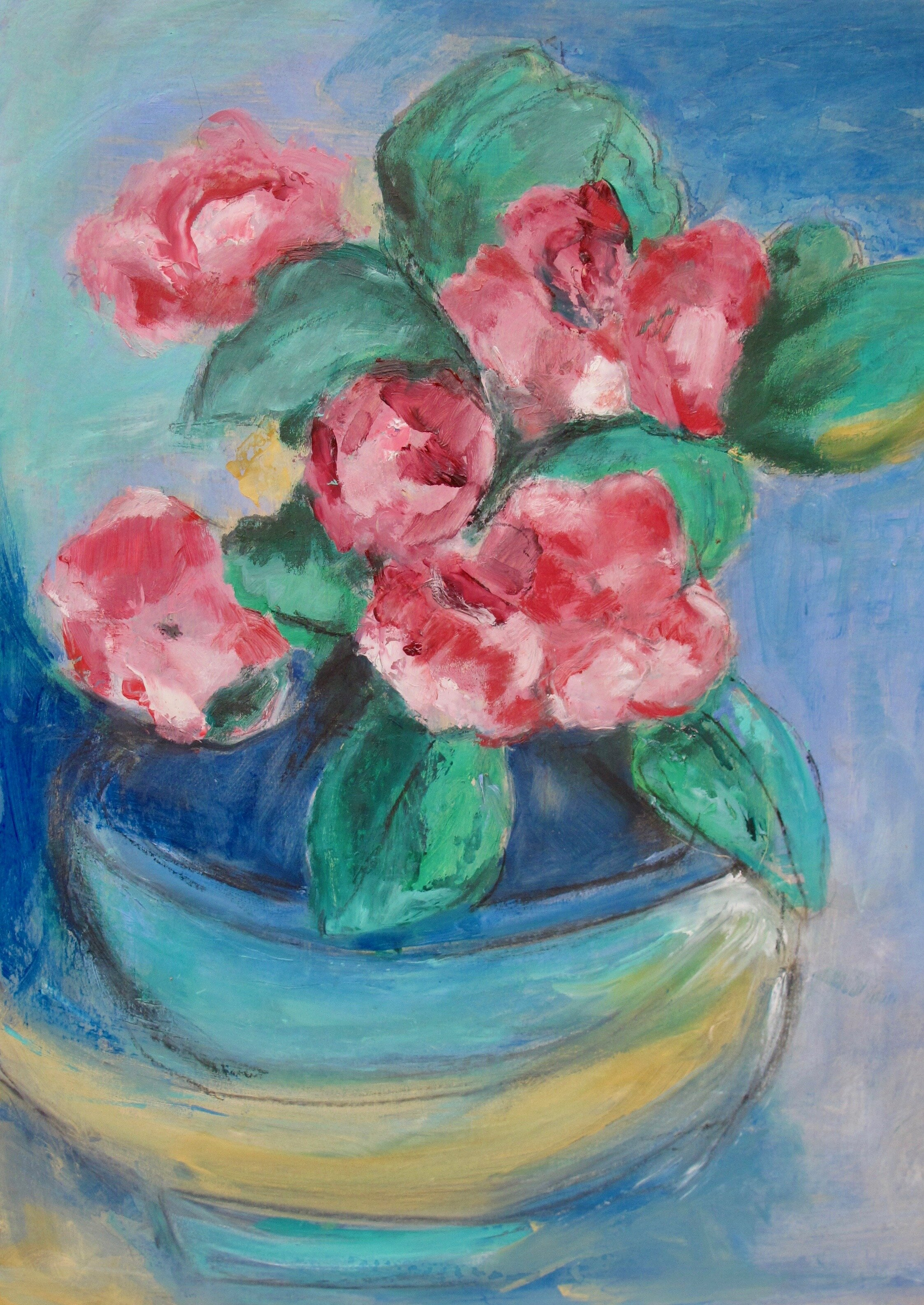 FLOWER BOWL  ACRYLIC ON BOARD  51 X 38 CM