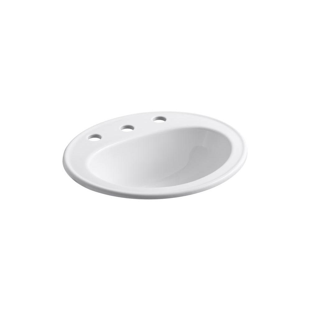 Kohler Pennington Drop-In Vitreous China Bathroom Sink in White