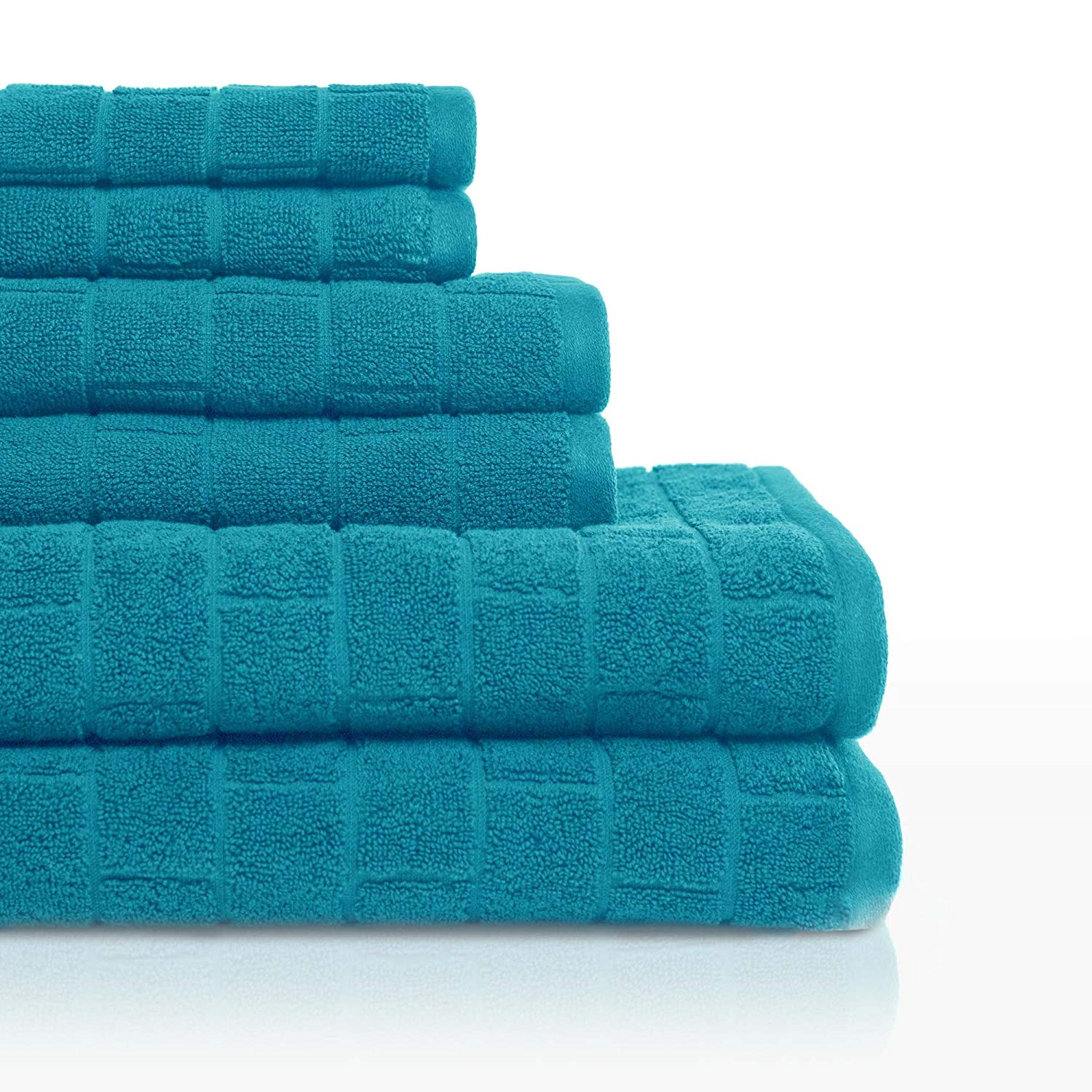 Inspiration: Cobblestone Tiles 6 Piece Textured Bath Towel Set, 6 Piece, Teal