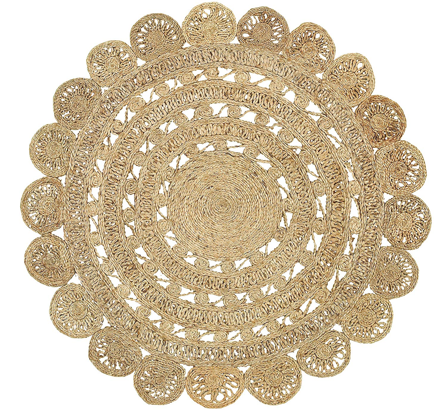 World Market original unavailable; Round jute rug inspiration provided