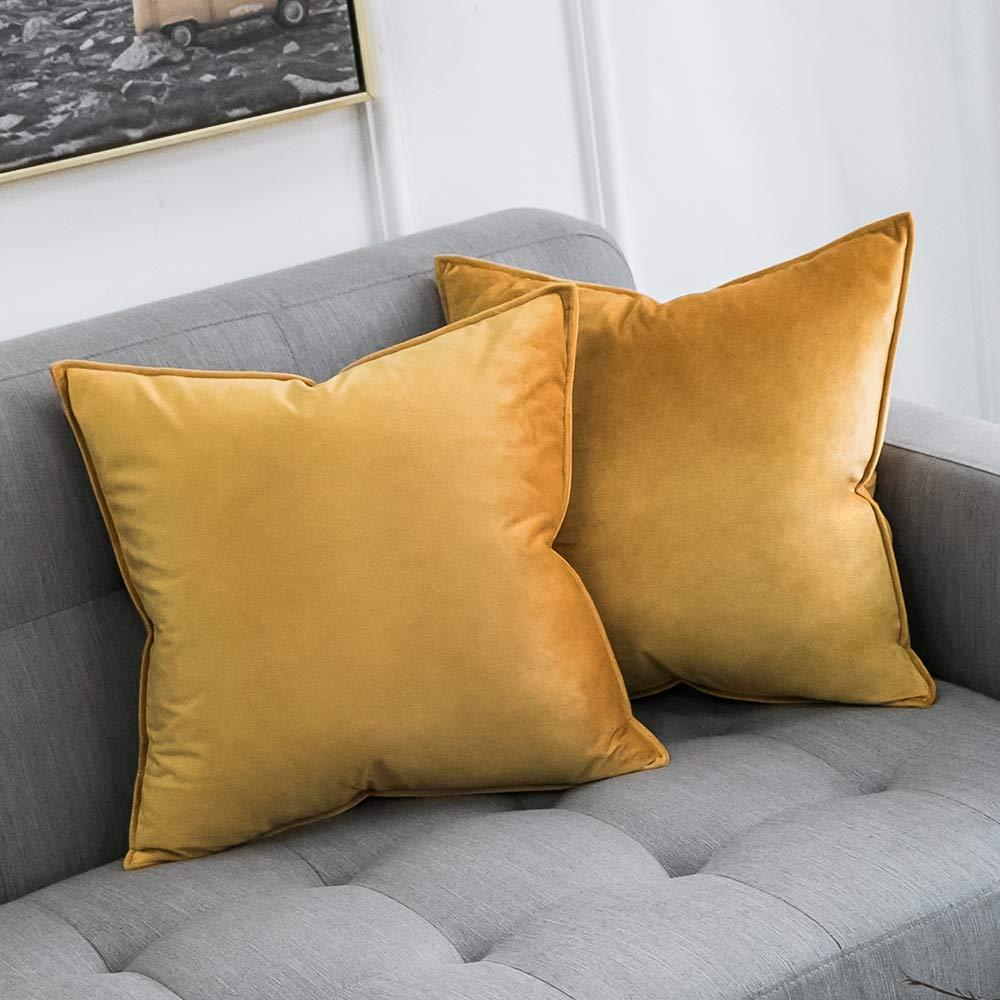 Yellow Velvet Pillow 18x18