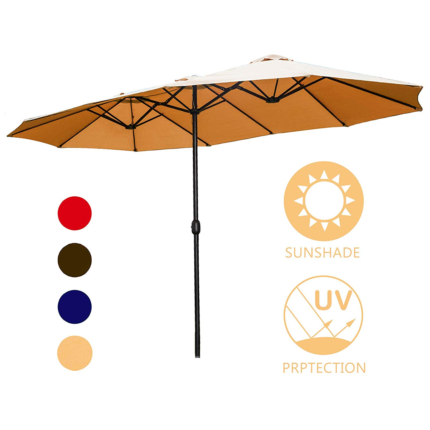 15' Double Sided Market Umbrella -
