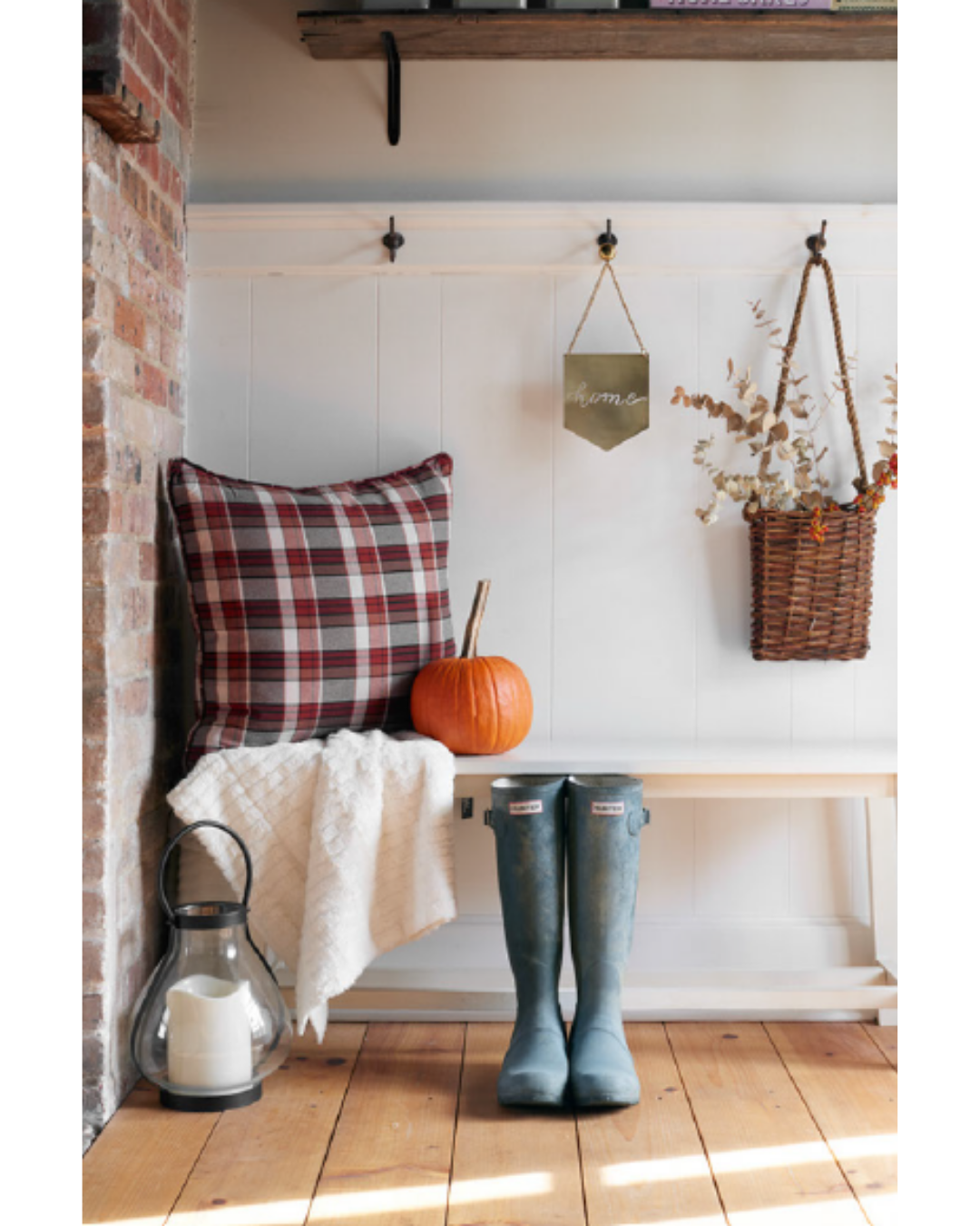 Tip: Incorporate seasonal clothing like scarves and footwear into your home decor.