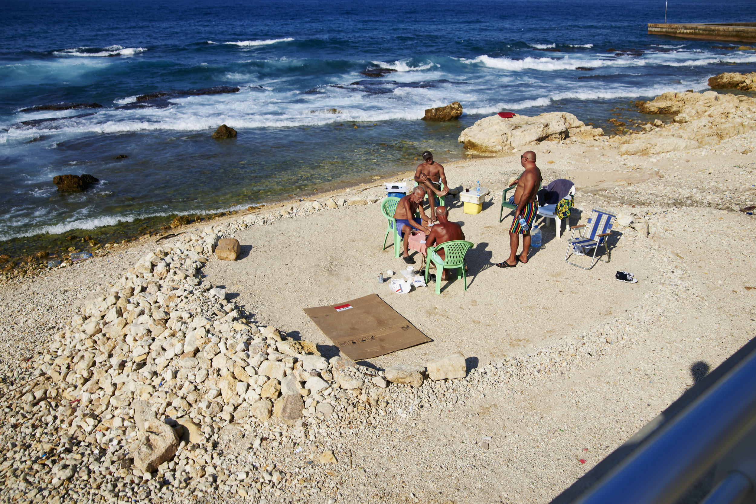 Informal appropriation on the endangered Beirutis coastline, Lebanon, 2015