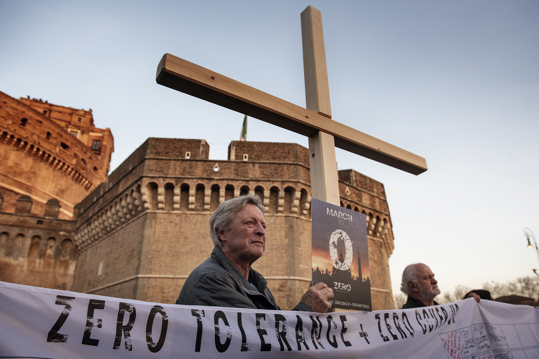 Members of Ending Clergy Abuse (ECA), an organisation of survivors and activists who are organising in Rome a series of events during the papal summit on the sex abuse crisis within the Catholic Church, take part in a protest gathering on February 21, 2019 by the Castel Sant'Angelo in Rome, Italy. Pope Francis opened a historic summit meeting at the Vatican on Thursday devoted to clerical child sex abuse, gathering 190 leaders of the Roman Catholic Church tackling the wave of abuse scandals assailing the Vatican.