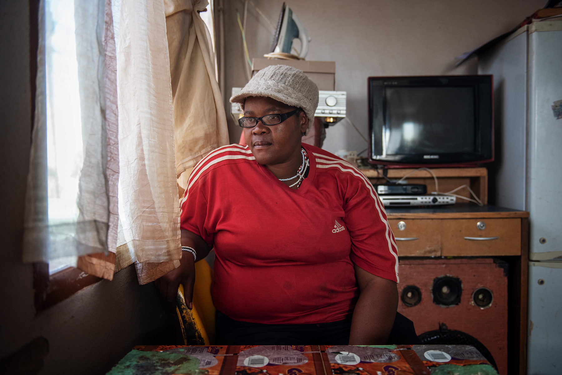 Eva Mokoena (L), a 33 years old South African informal waste picker, poses for a portrait in her house in the outskirt of  Johannesburg, South Africa, on June 28, 2019.