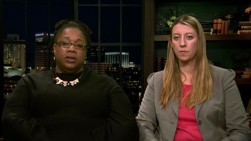 Virginia prosecutors recently dropped charges against Sarah Sims (left, pictured with her attorney)who tried to record bullying at her daughter's school. (Image: KY3.com)