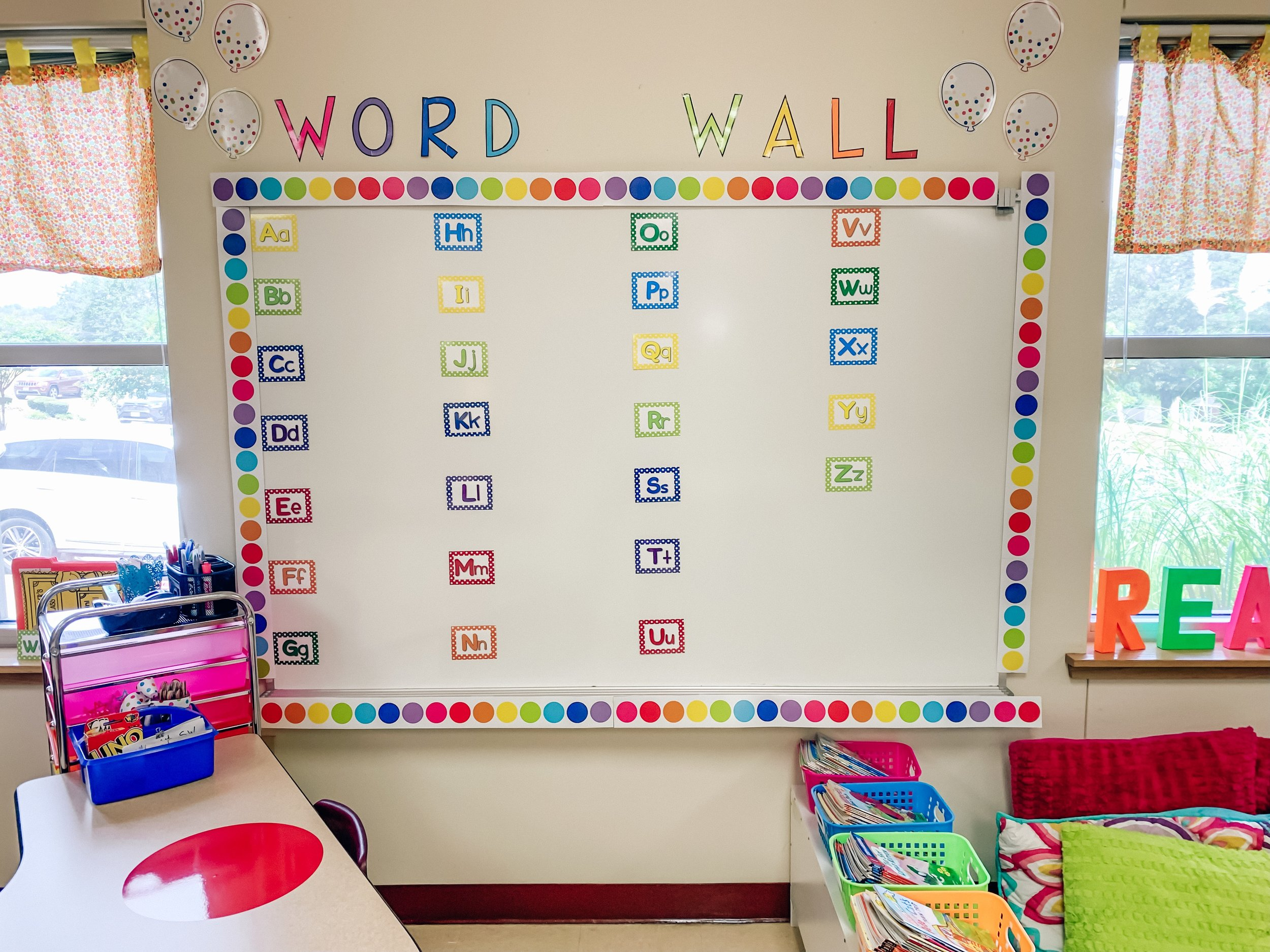 As we learn new sight words each week students will add them to our word wall to use a resource throughout the year! We also have mini word walls that you can see peeking through in on the left window seal that they can take back to their desk to use when writing.