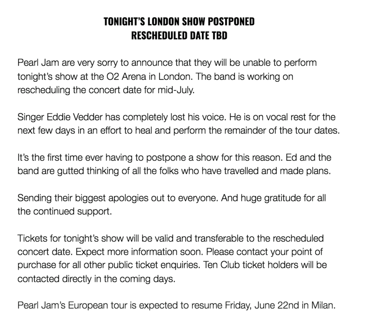 Postponement photo taken from Pearl Jam Facebook page