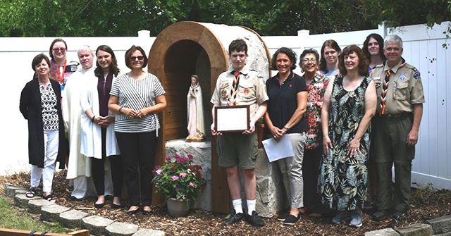 Earlier this month, Peter Cowsky, 17, of Boy Scout Troop 72 in Libertyville, completed his #EagleScout project at our Waukegan office--a grotto to honor Our Lady Rosa Mystica. It's beautiful! We invite the community to use the area for prayer and reflection.