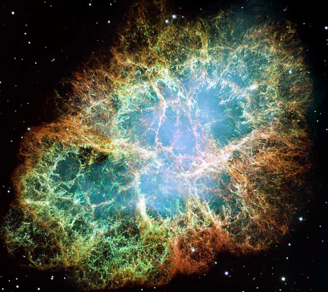 Photo from the Hubble Space Telescope   |    The Crab Nebula, remnants of SN 1054 supernova.