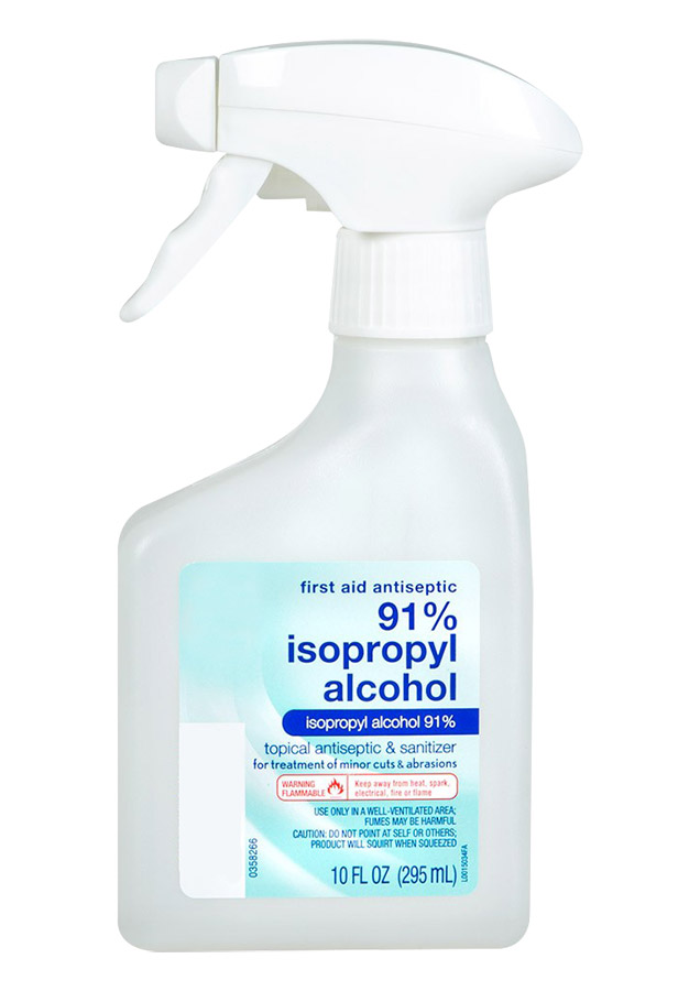 Use 91% alcohol in a spray bottle - Spray the orthosis well and scrub it with a white paper towel or soft toothbrush