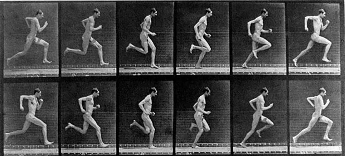 Eadweard Muybridge's pioneering photographs of a human male running. (https://thebioscope.net/2010/09/22/the-running-man/)