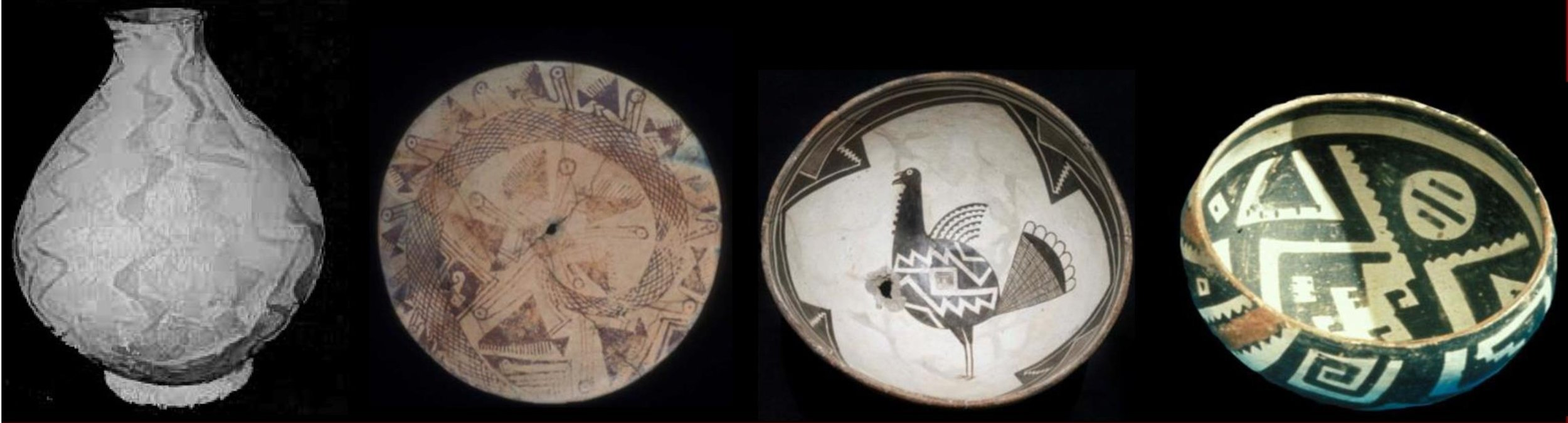 Examples of contemporaneous pottery associated with Patayan, Hohokam, Mogollon, and Ancestral Pueblo Native Americans. Distinct material culture does not rule out relatedness among populations. Pottery courtesy of the BLM, Arizona State Museum, and Amerind Foundation Museum; photo from www.oldpueblo.org.