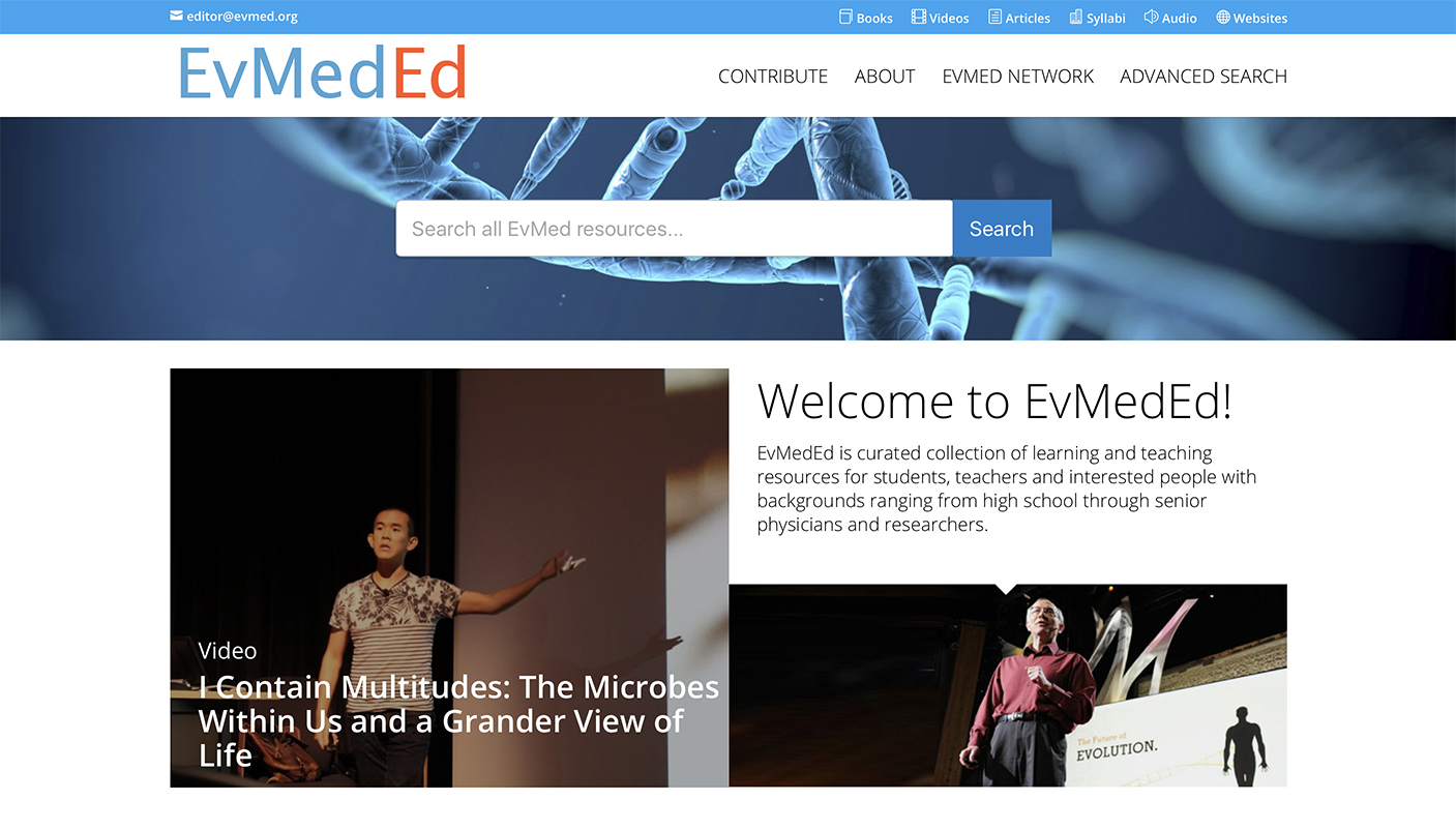A screen capture of the front page of the EvMedEd website (http://www.evmeded.org/).