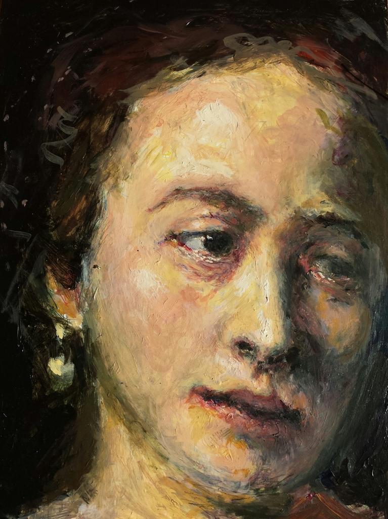 Antique Faces 3: Lucrecia's Tear, after Rembrandt