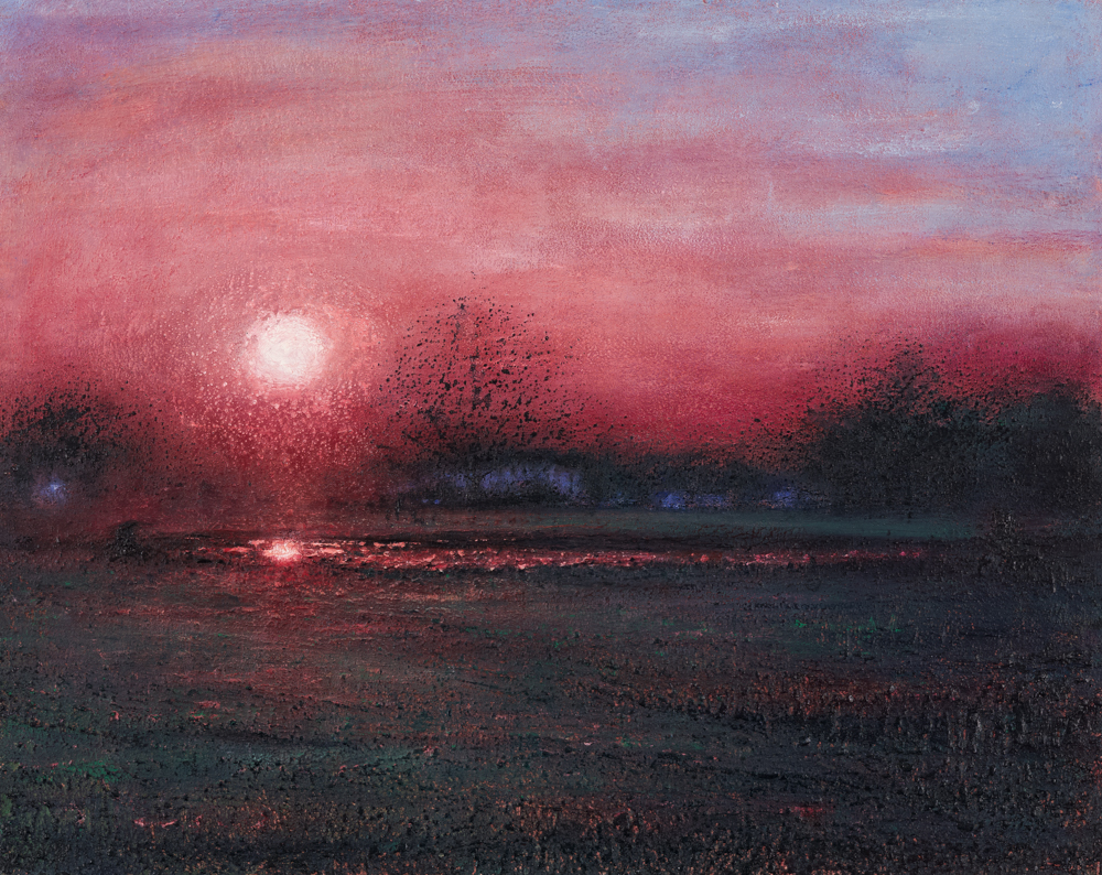 Last Light on Wimbledon Village Pond   51cm x 40cm