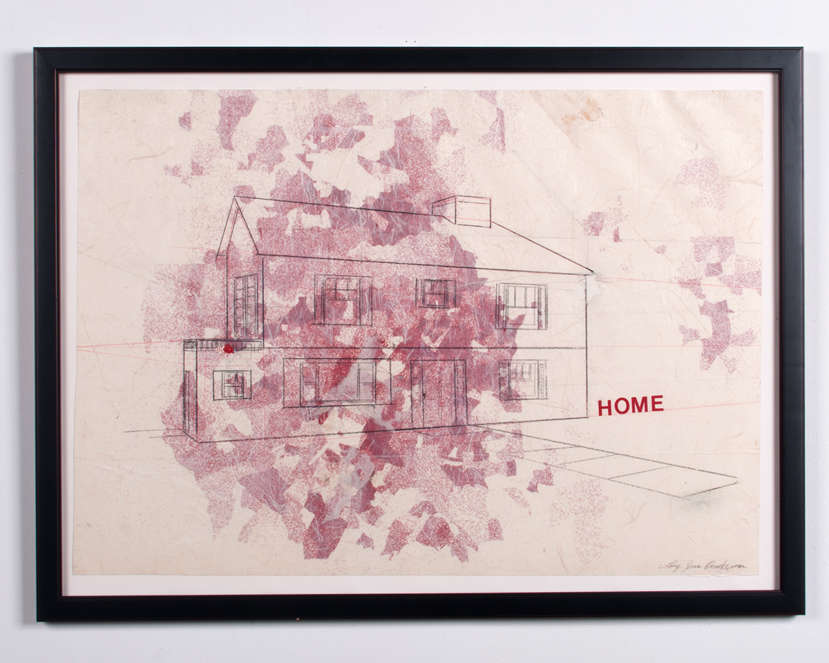 Home graphite, collaged papers, colored pencil 37.75 x 28 LJA 148G