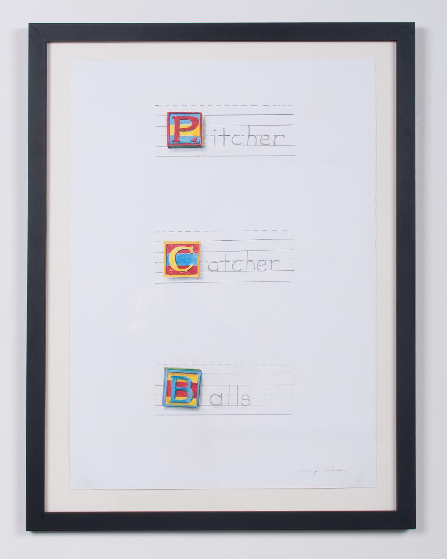 Pitcher, Catcher, Balls colored prism pencil, ink 32 x 25 LJA 131G