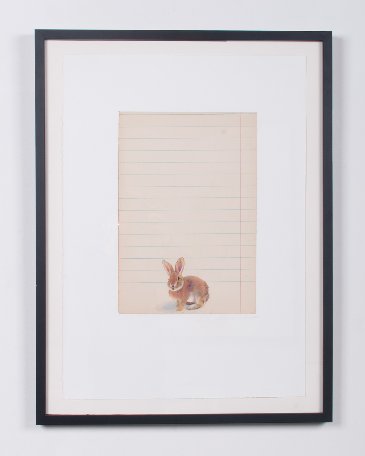 Baby Bunny prisma pencils on antiqued collaged paper 32.75 x 24.75 LJA 155G