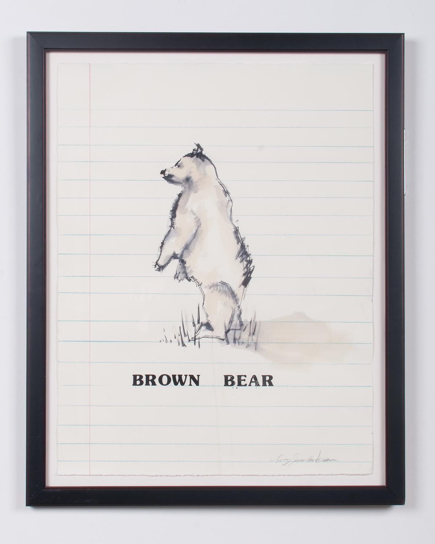 Brown Bear ink, watercolor, colored pencil, vinyl 30.25 x 24 LJA 154G