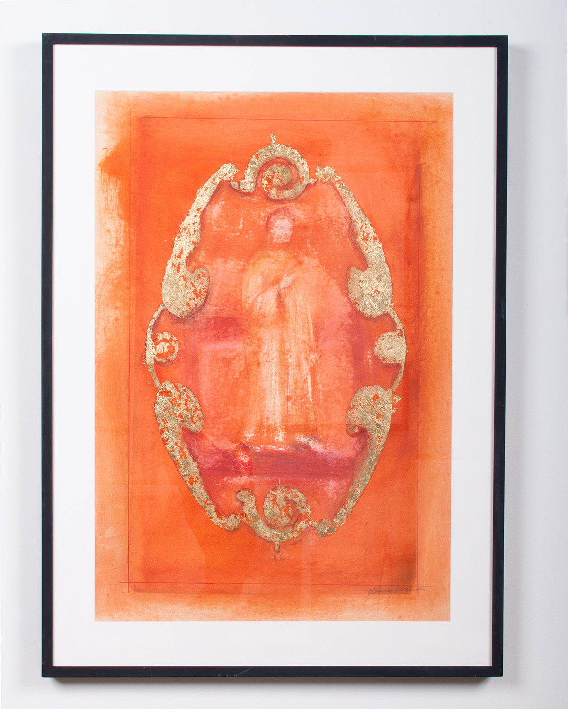 Spirit pastel and gold leaf varnish on paper 44 x 35 LJA 142G