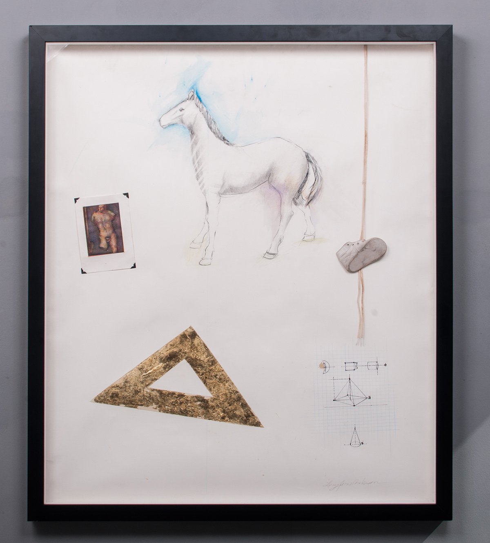 Golden Triangle watercolor, metal leaf, etching, prisma pencil, shoe 44 x 38 LJA 134G