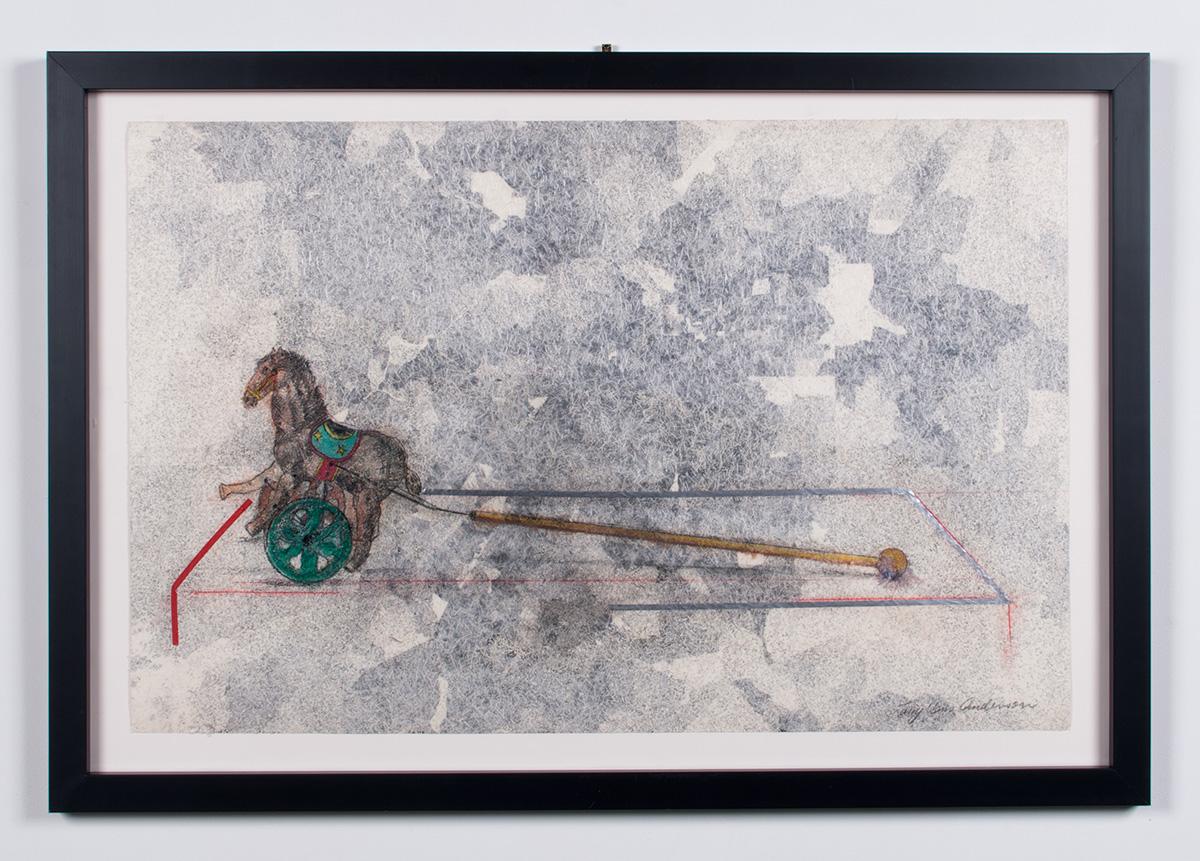 Lost collaged paper, vinyl, colored pencil, graphite, acrylic 30.75 x 44.5 LJA 164G