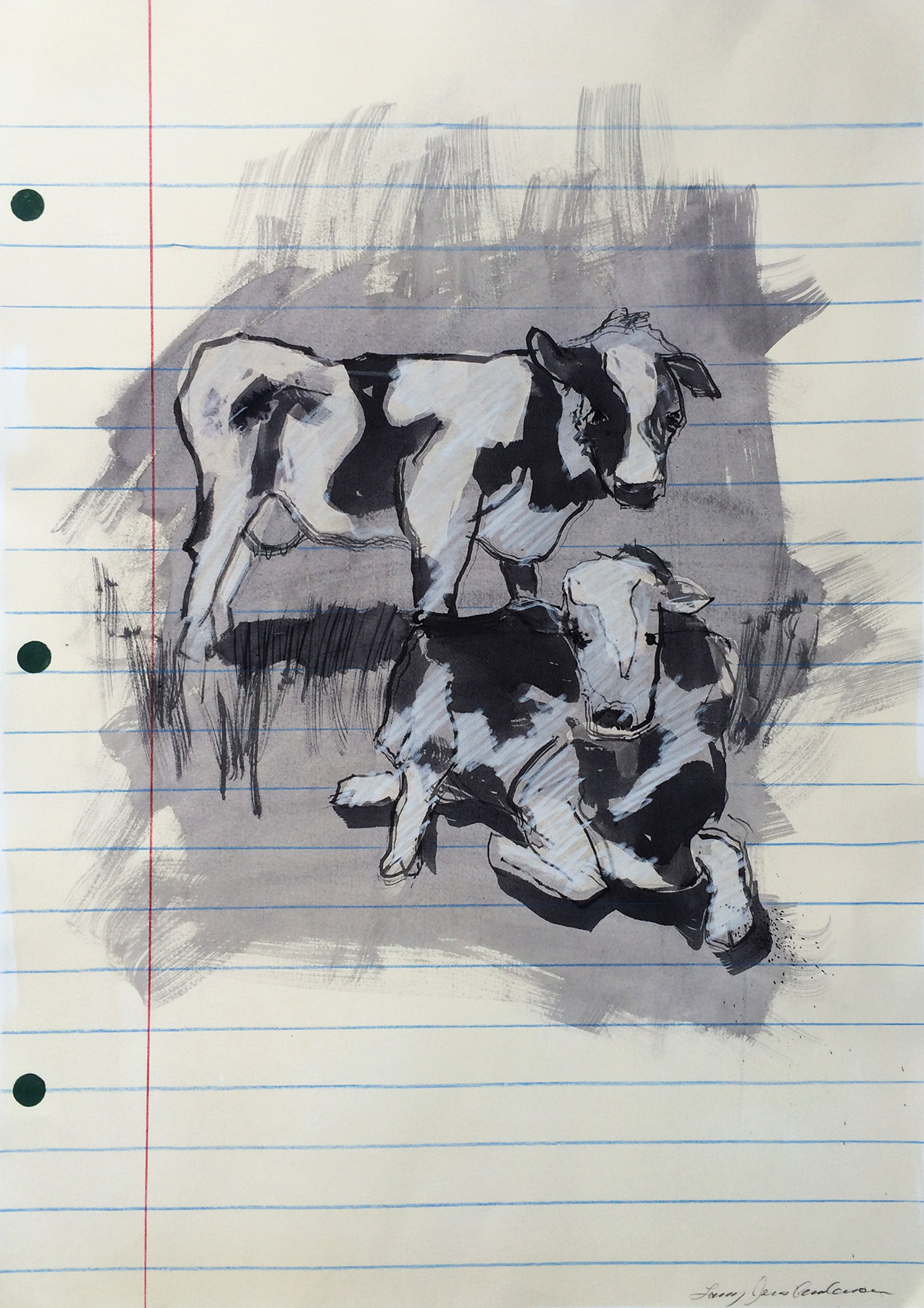 2 Cows mixed media on paper 29 x 21 inches LJA 109G