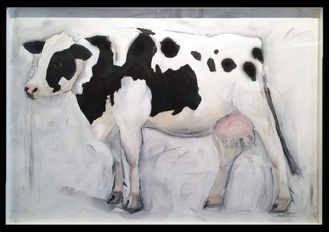 Cow acrylic on paper 44 x 60 inches LJA 105G