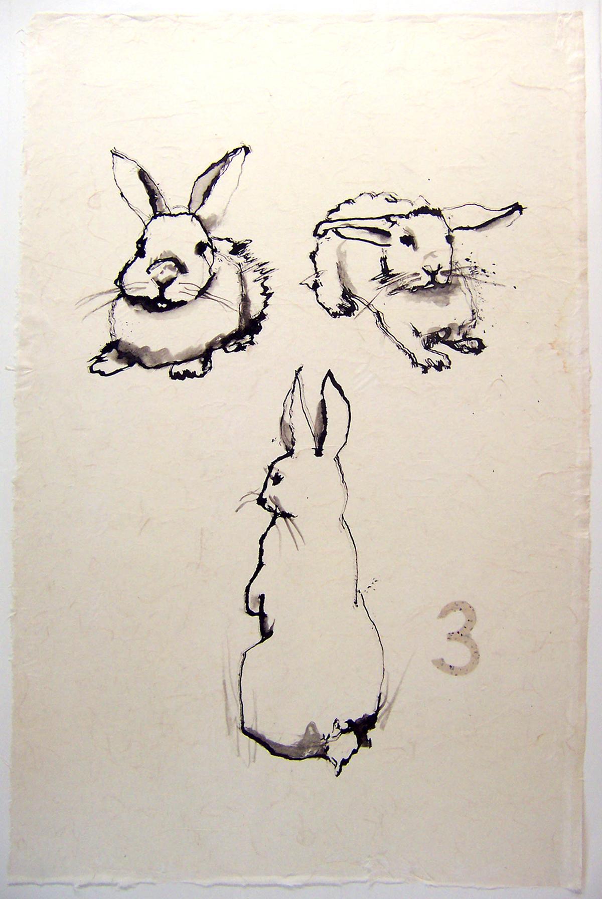 THREE ink on rice paper 45 x 30.5 inches LJA 045G