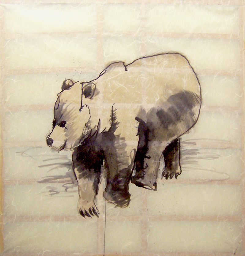 CUB ink on rice paper 36 x 35 inches LJA 019G