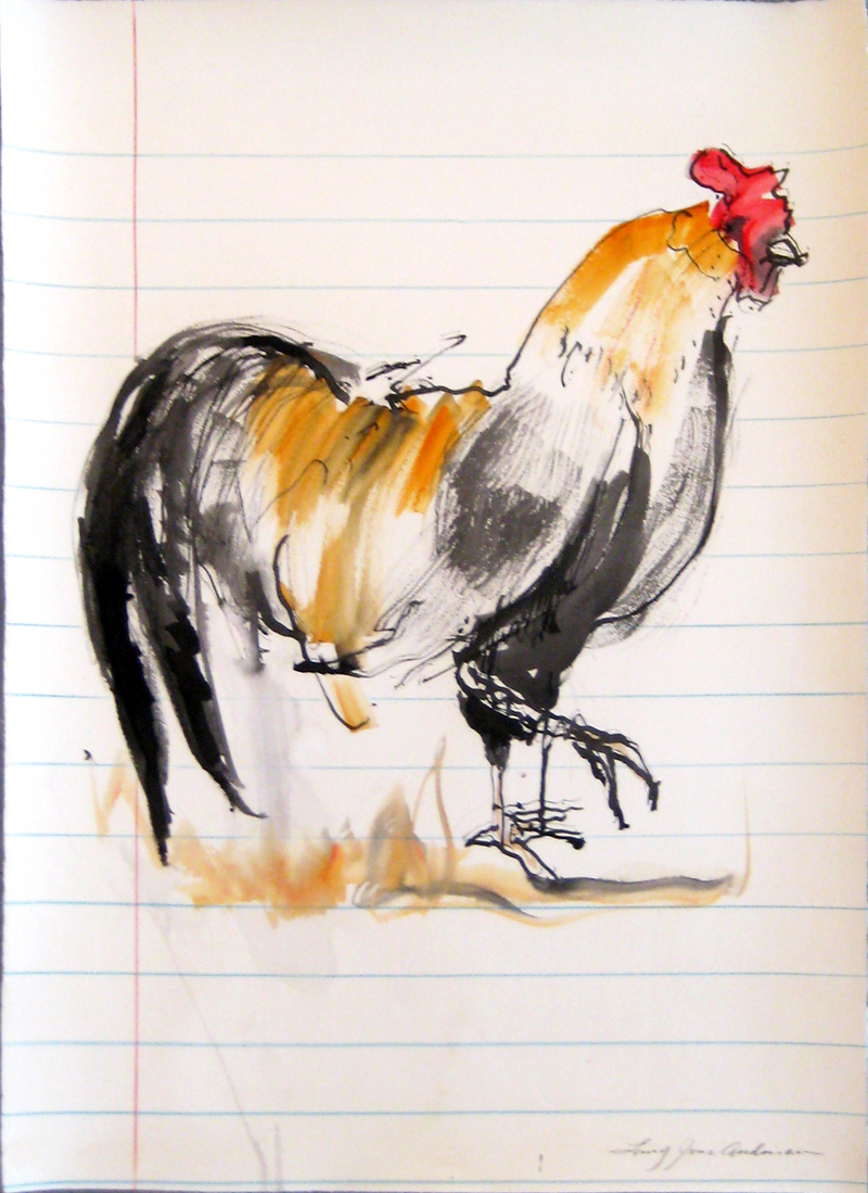 ROOSTER 2 ink, watercolor on paper 30 x 21.75 inches