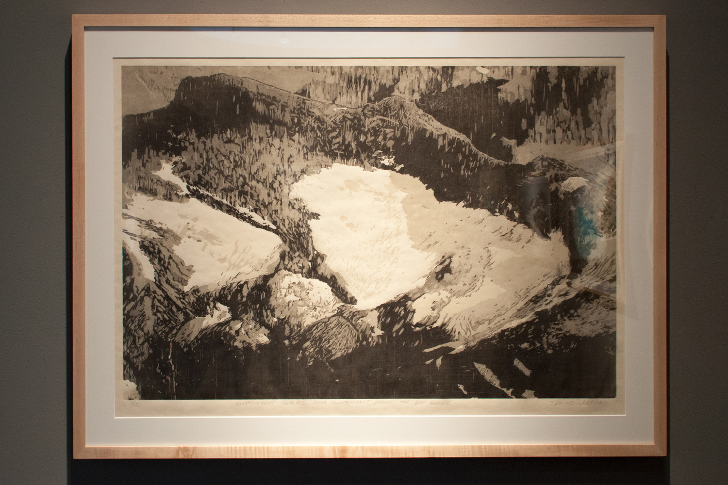 Swiftcurrent Glacier – The Last Glacier reductive jigsaw woodcut print, five runs and five colors 26 x 36 inches TAN 006G