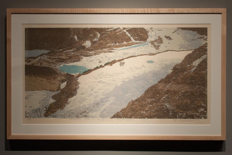 Salamander Glacier – The Last Glacier Reductive woodcut, eight runs and eleven colors 15 x 30 inches TAN 004G