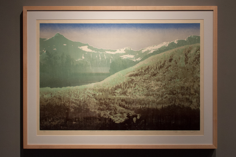 Kintla Glacier – The Last Glacier Reductive jigsaw woodcut, six runs and eleven colors 20 x 30 inches TAN 002G