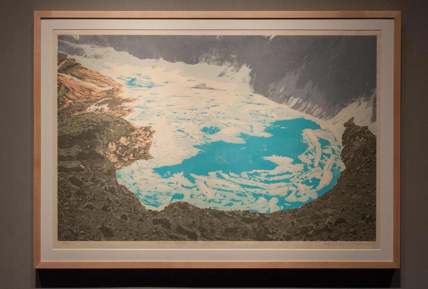 Grinnell Glacier – The Last Glacier Reductive jigsaw woodcut, five runs and eleven colors 22.75 x 35.5 inches TAN 008G