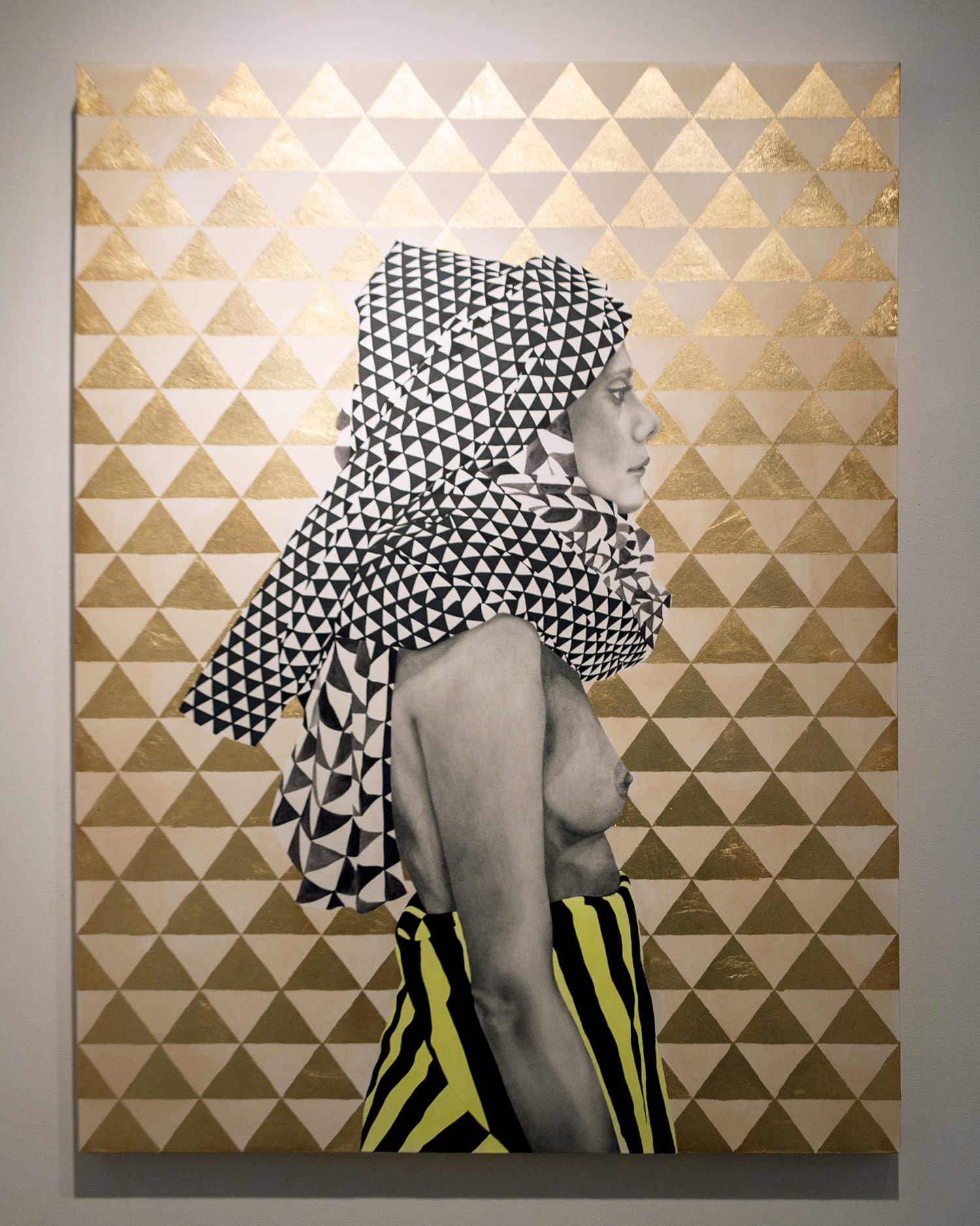 Geometric Headdress mixed media and gold leaf 30 x 40 inches LBR 041G
