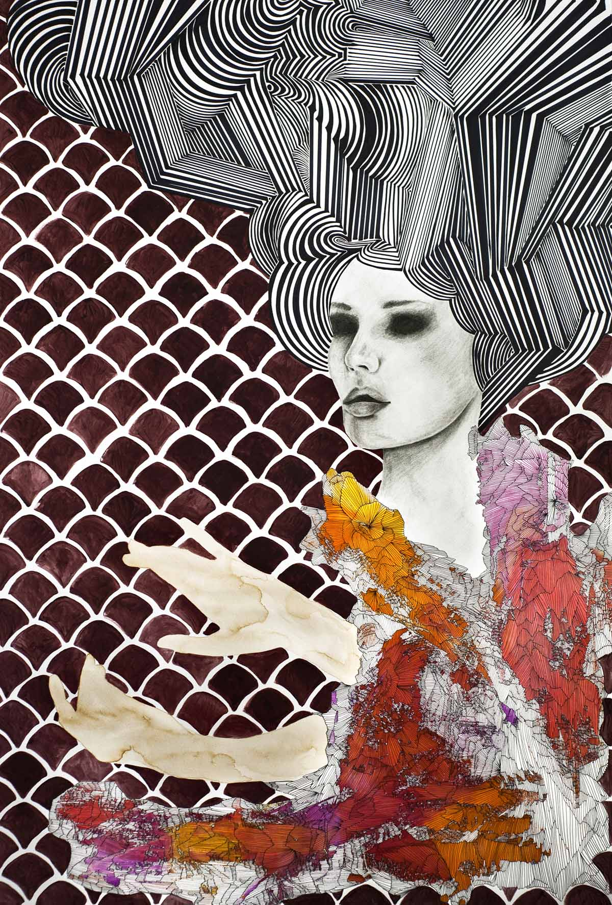 Siren of Future ink, graphite, acrylic, coffee, on paper 49 x 34.5 inches LBR 002G