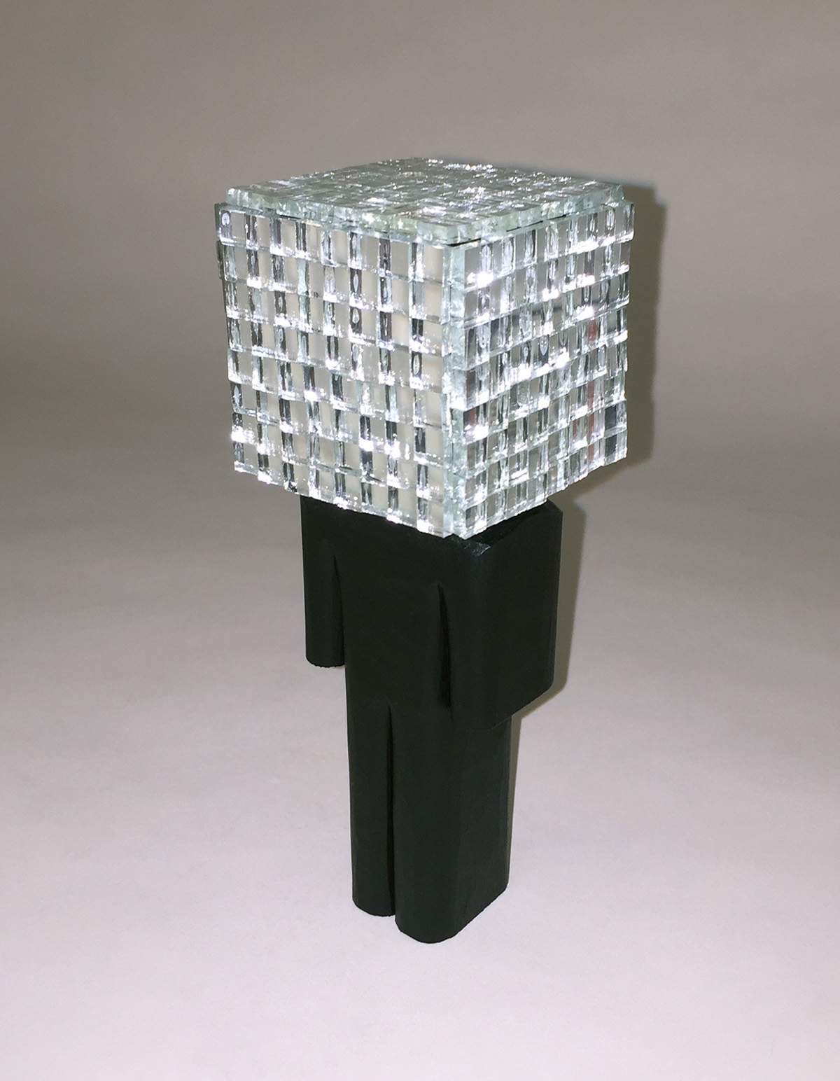 Mirrorball acrylic, basswood, mirror tiles 6.25×1.75×1.75 inches