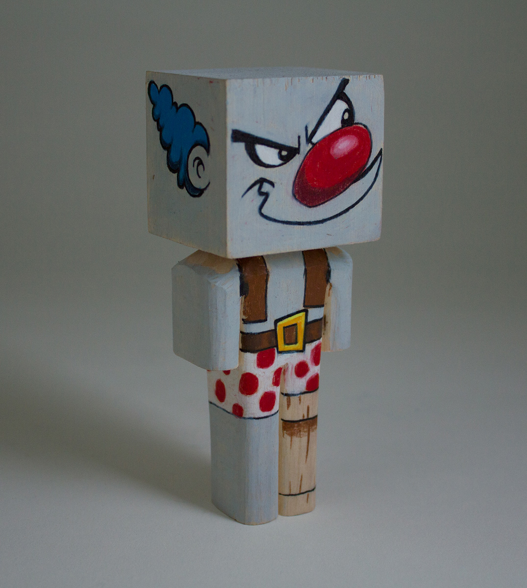 """Clown Pirate, Color Pencil & Basswood, 4.75""""x1.75""""x1.5"""", (collab with Noel Saabye)"""