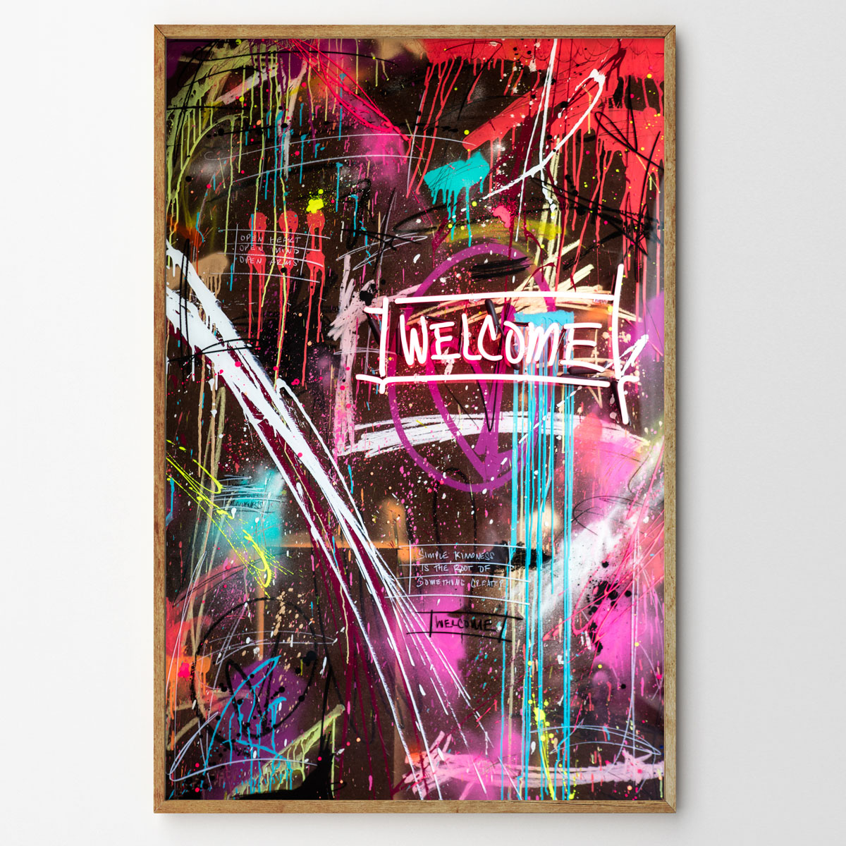 WELCOME mixed media with layered epoxy resin finish 48 x 72 inches JBR 102G