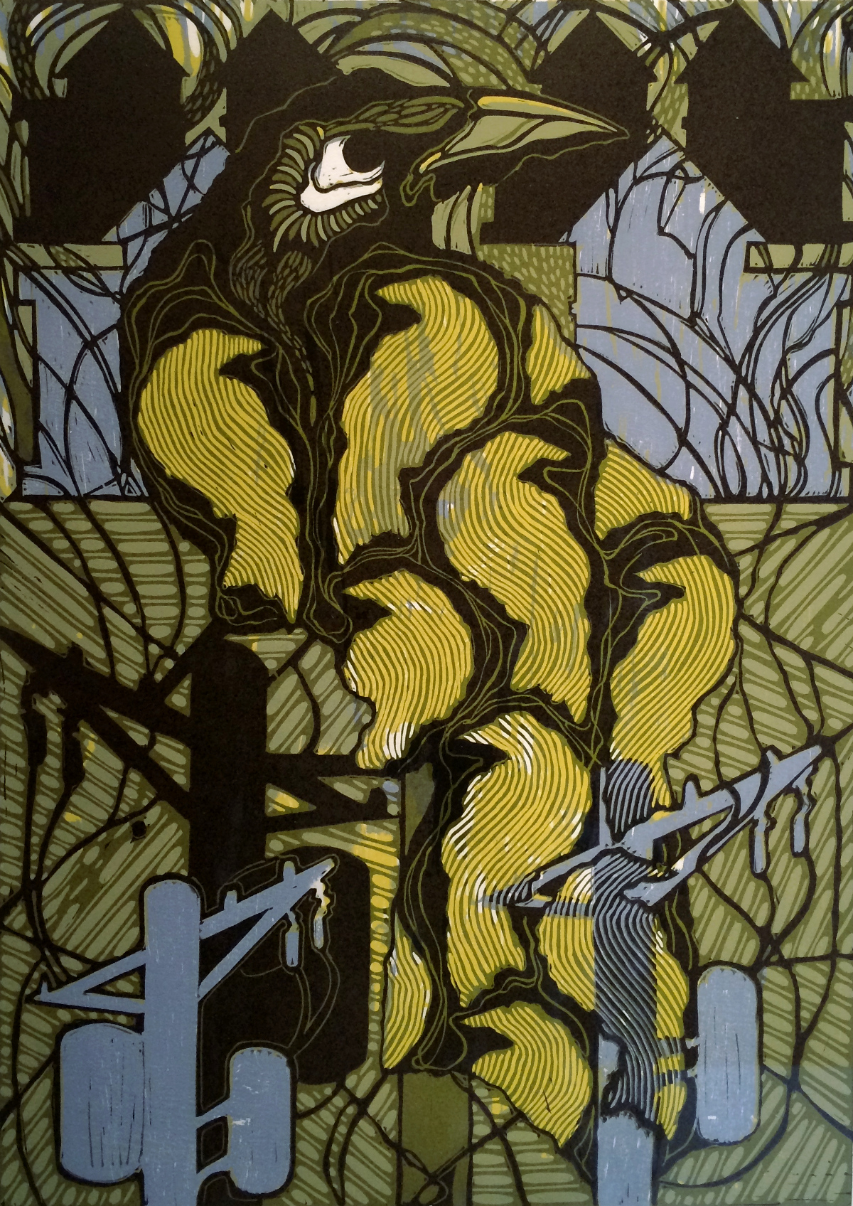 The Overseer, linocut:woodcut 29×22 inches, DCL 022G
