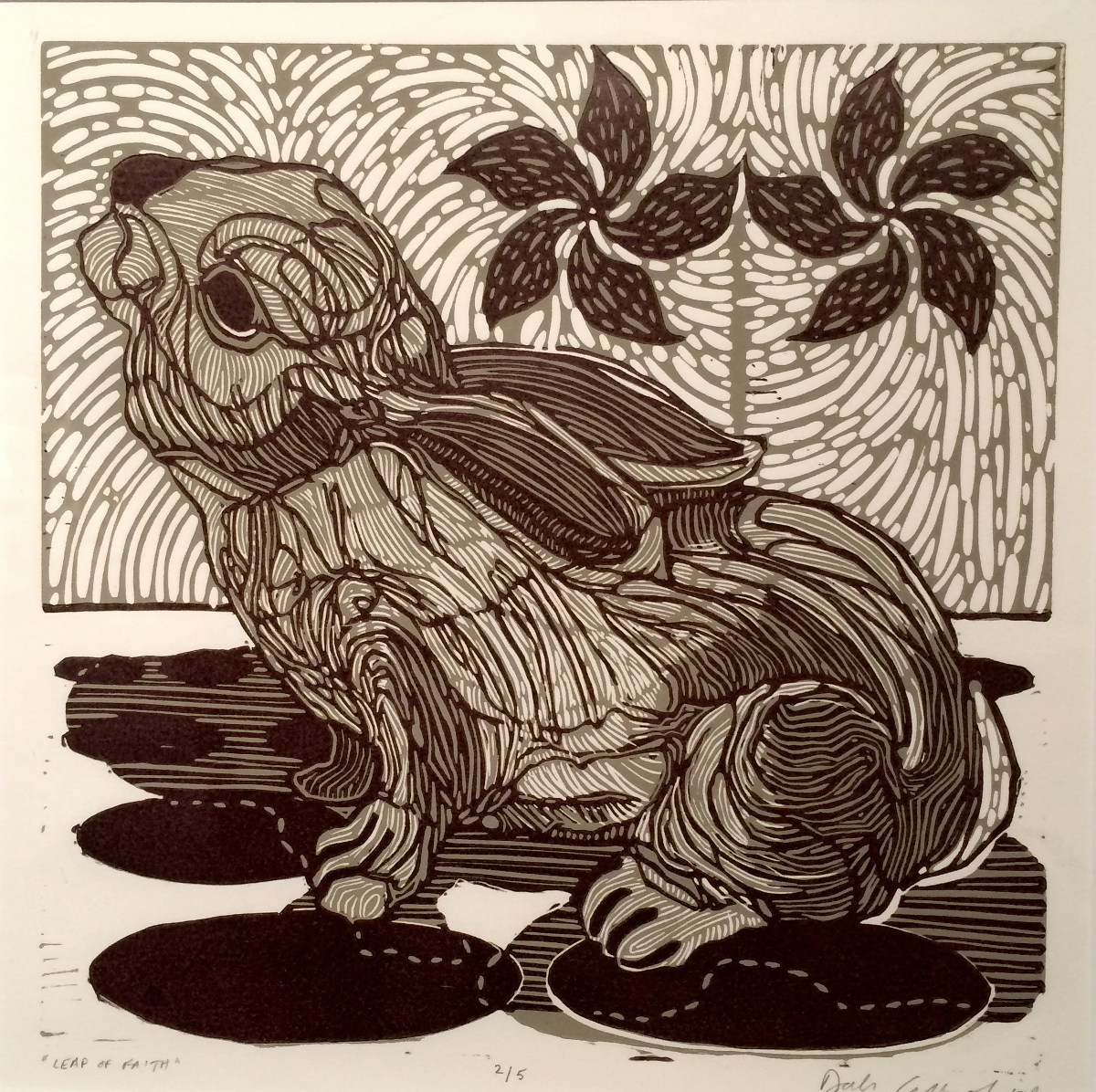 Leap of Faith, linocut, 20x19inches, DCL042G