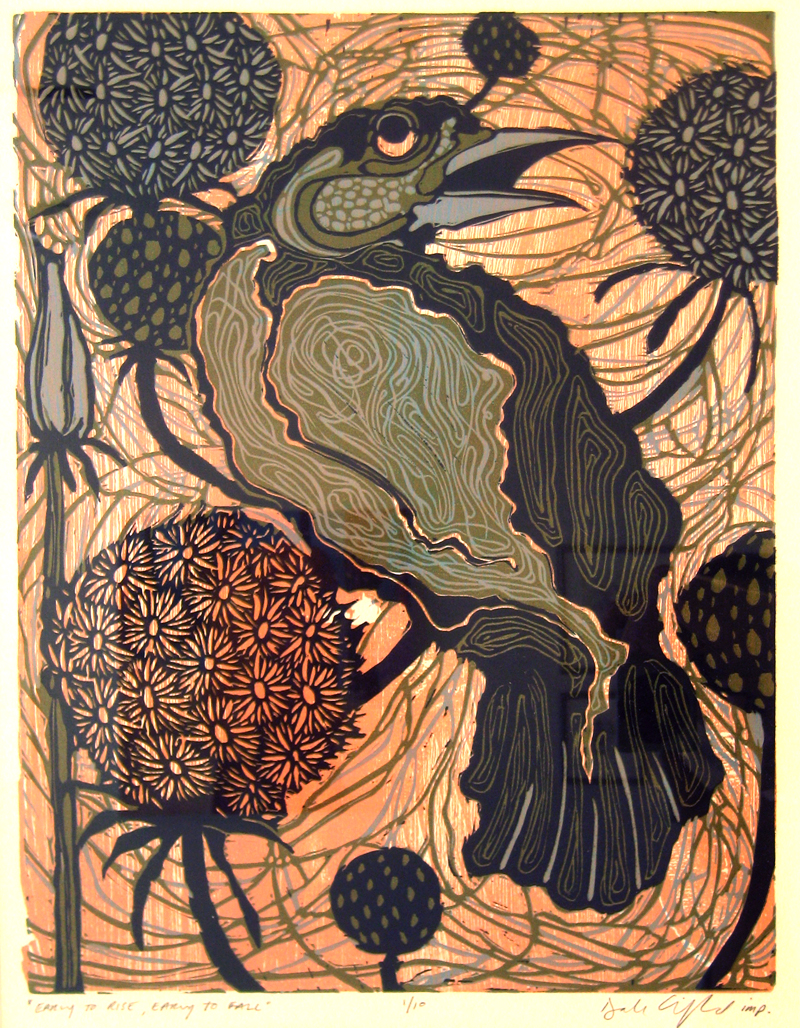 Early to Rise, Early to Fall linocut woodcut 20x16inches DCL 024-G