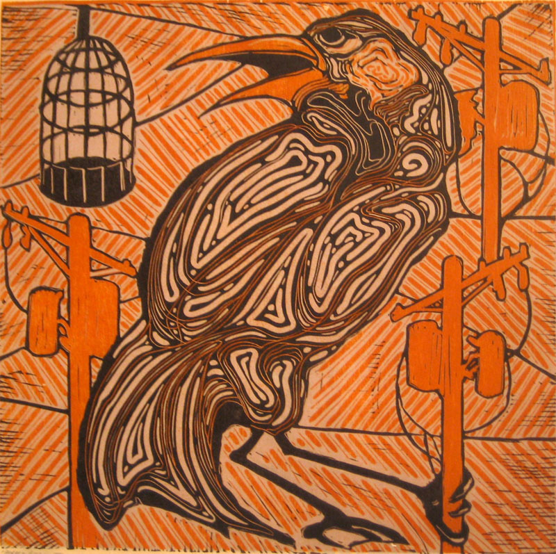 Border Security I linocut/woodcut 16 x 16 inches DCL 021-G