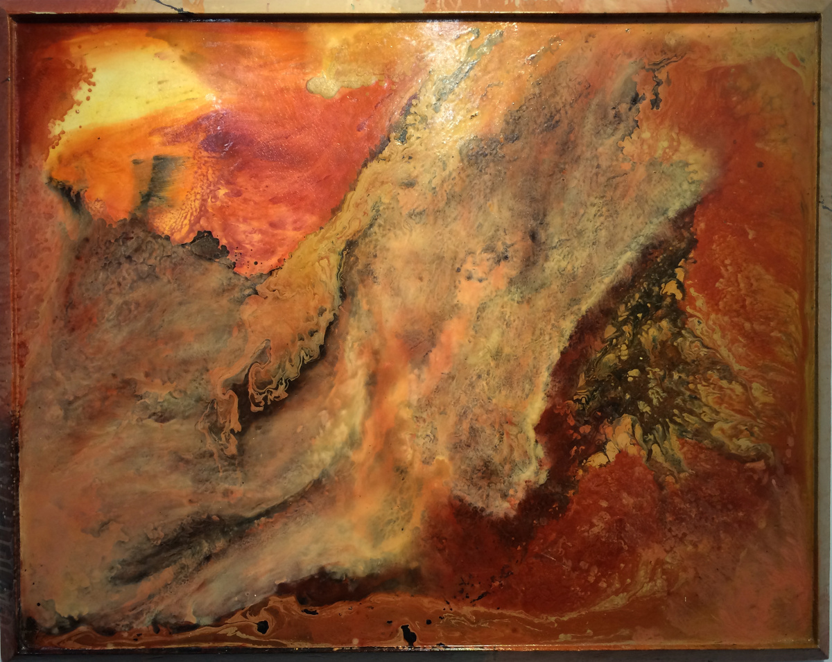 Sunset Mesa After the Storm, mixed media on birtch, 48×60 inches, WDU 013G
