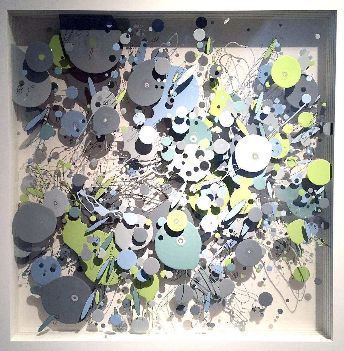 CP007 (diptych left) enamel acrylic on layered plexiglas 36 x 36 x 3.5 inches WGR 047G