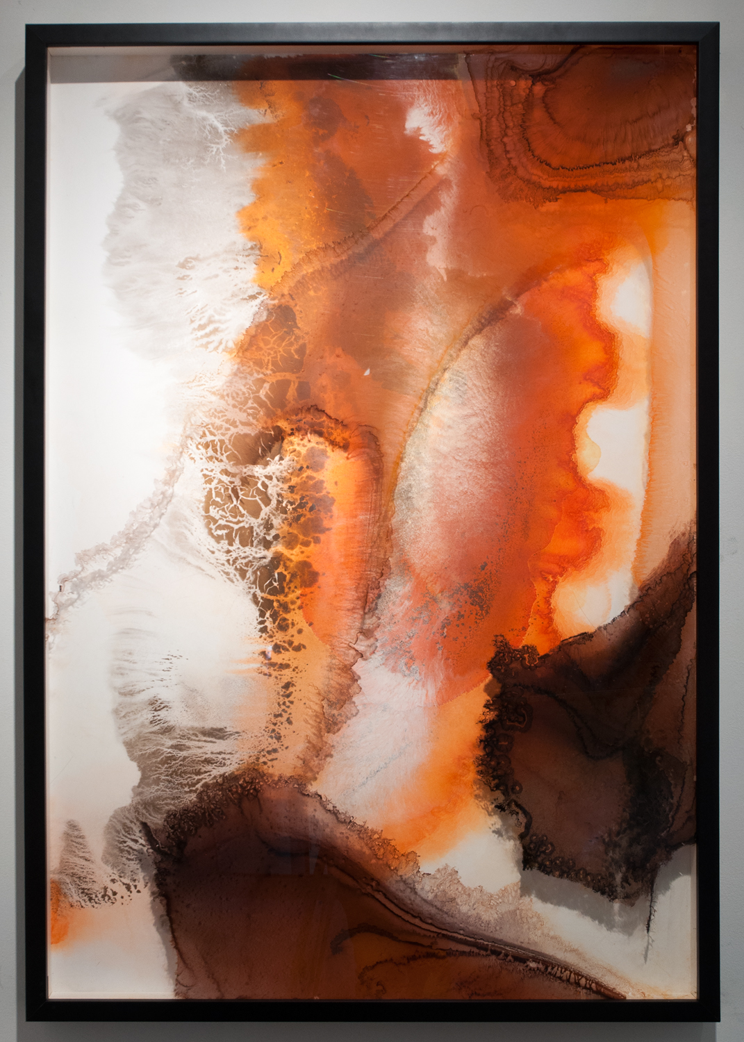 Rhapsody sumi ink and watercolor on glass and gesso panel 48 x 33 inches ERO 080G